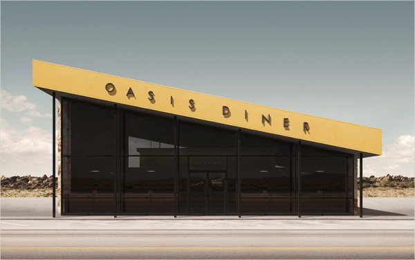 """Oasis Diner – digital artwork from the limited print series """"The New World"""" (part II)."""