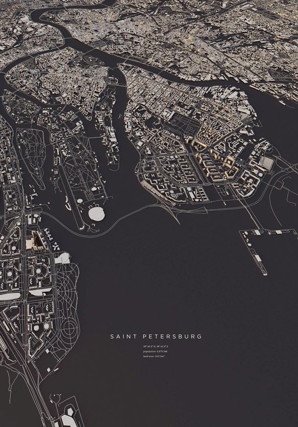 Saint Petersburg, a map created with Cinema 4D.