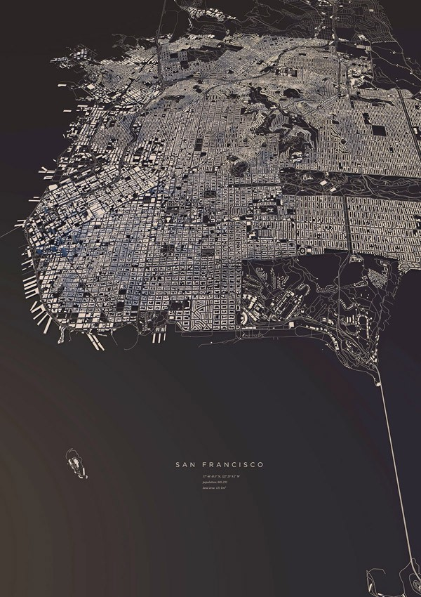 San Francisco, a map based on the exact three-dimensionality of topography and buildings.