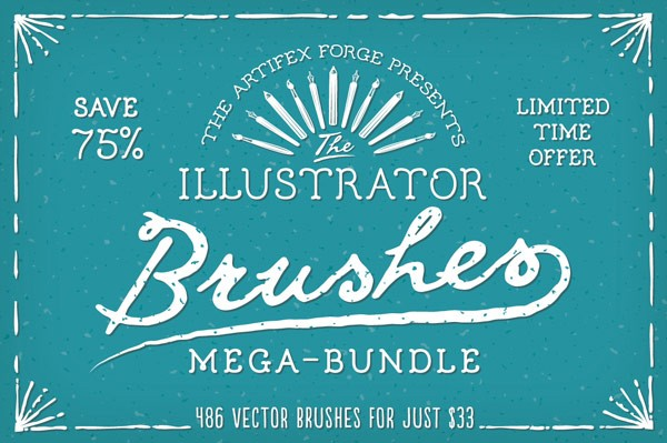The Adobe Illustrator brushes mega-bundle – Limited time offer.