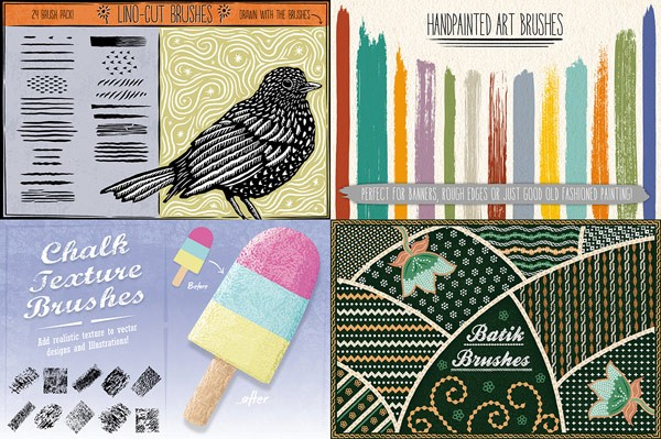 The bundle also includes brushes for handpainted art styles, chalk textures, batik styles, and lino-cut effects.