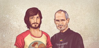 The young vs old Steve Jobs, illustrated by Fulvio Obregon, a Cali, Colombia based graphic designer, illustrator, and character designer.