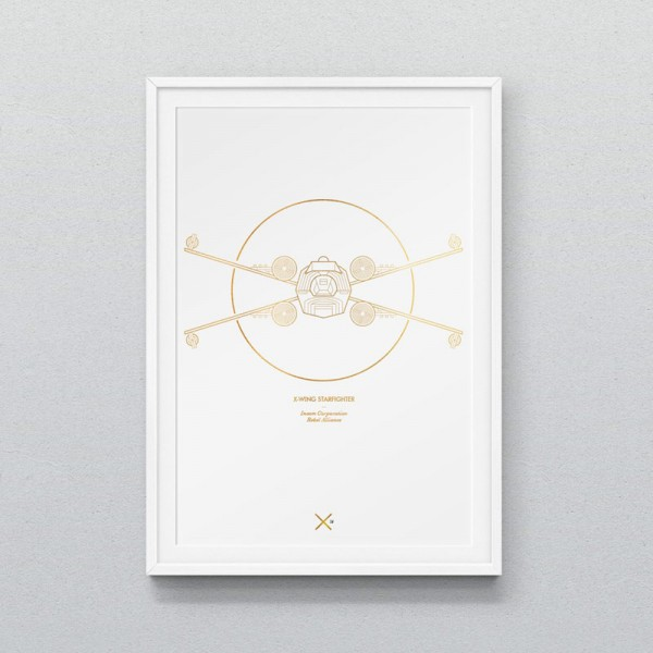 X-Wing Starfighter – graphic line artwork produced as 210 gsm digital print in the size of A3.