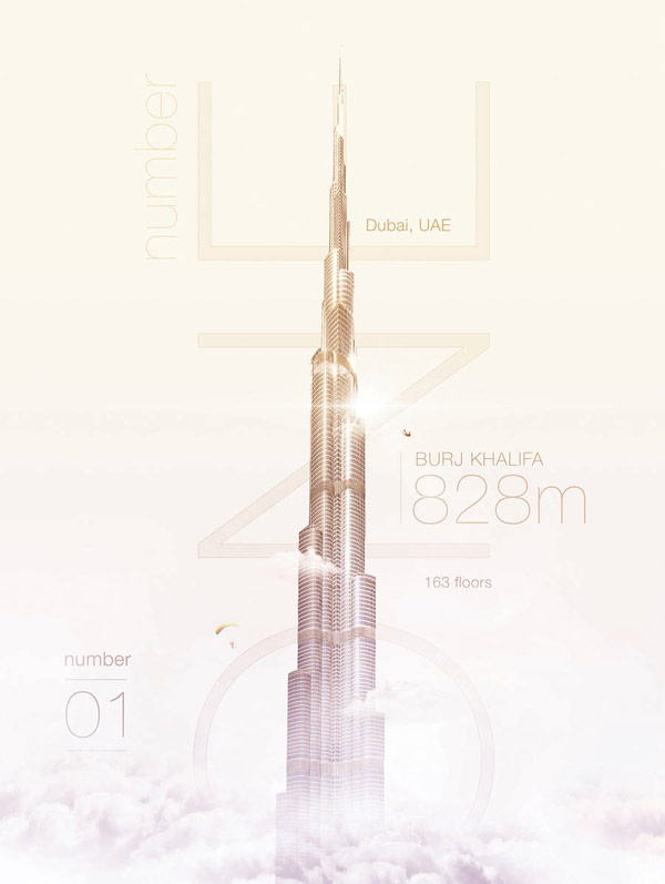 Burj Khalifa in Dubai, 828m, 163 floors