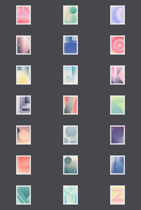 A collection of letter-inspired stamps by Fabian Fohrer, a Constance, Germany based graphic design student.