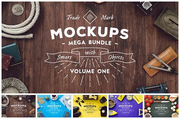 A vintage style mockups mega bundle from Victor Barac.