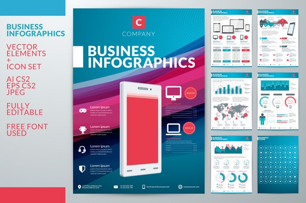 Business infographics with countless vector elements. You can use them for a variety of applications.