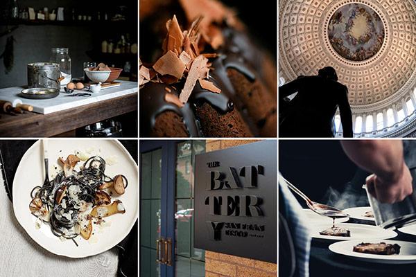 Images of the Rotonda restaurant brand identity.
