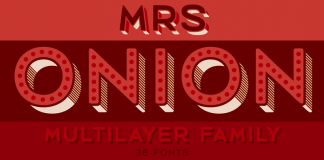 Mrs Onion, an multilayer type family with 38 uppercase fonts.