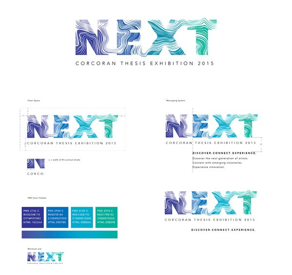 NEXT 2015 logo and exhibition brand design by Corcoran Design Lab.