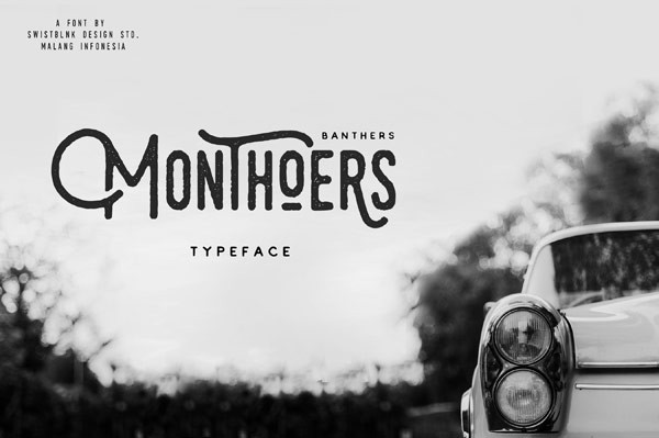 The Monthoers font, a handmade retro display typeface.