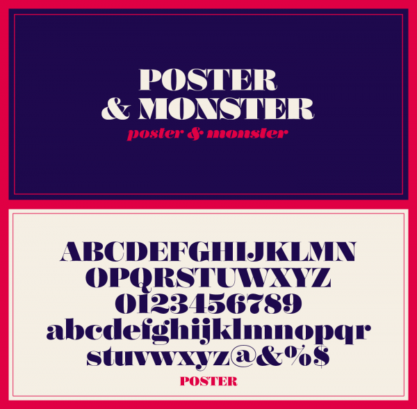 The Poster font family, a Bodonian/Didot typeface by Íñigo Jerez of foundry Textaxis.