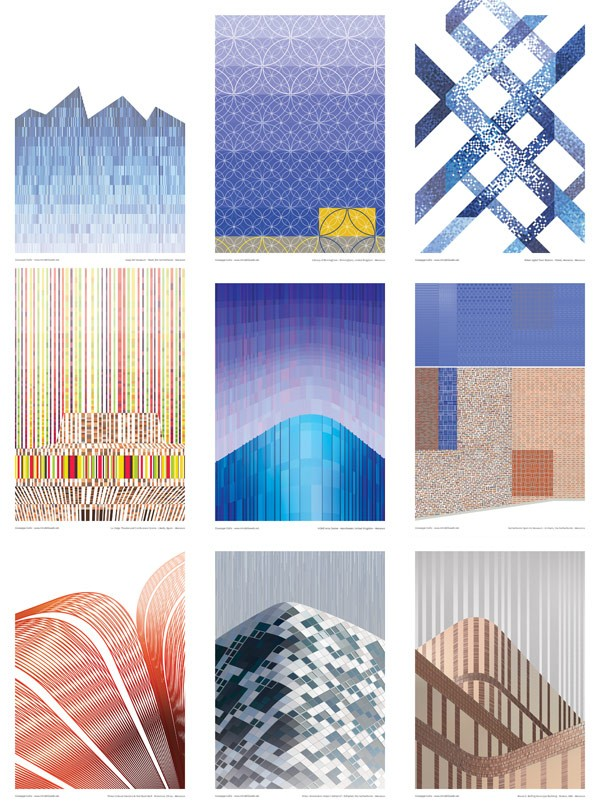 With this poster series, Giuseppe Gallo turns Mecanoo's designs into visual patterns.