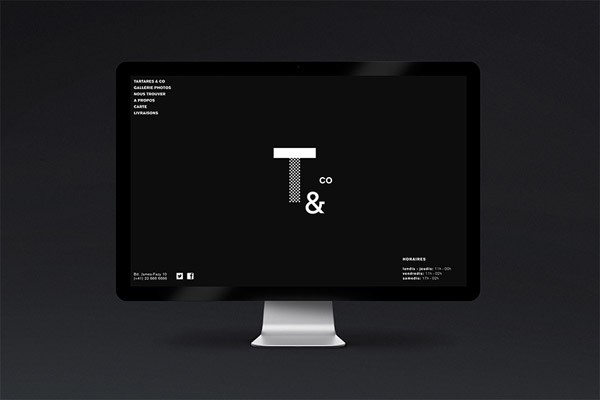 The home page of the website is based on simple black and white.