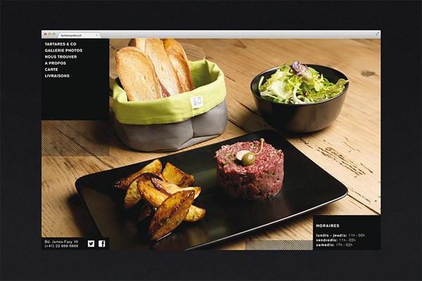 The website uses clean graphics and images of tasty food.