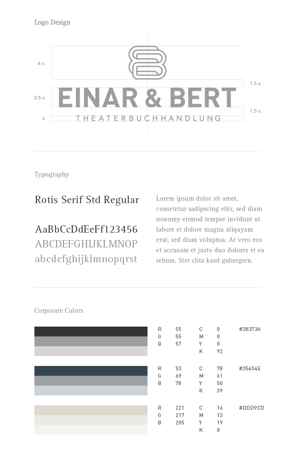 Einar & Bert – corporate identity guidelines including logo design, corporate typeface, and corporate colors.