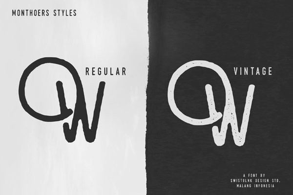 The Monthoers typeface includes regular and a textured vintage version.