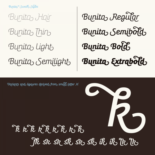 The family is equipped with eight weights and numerous OpenType features such as ligatures and alternative characters.