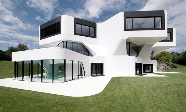 The team of J. Mayer H. Architects designed this modern villa outside Ludwigsburg, Germany.