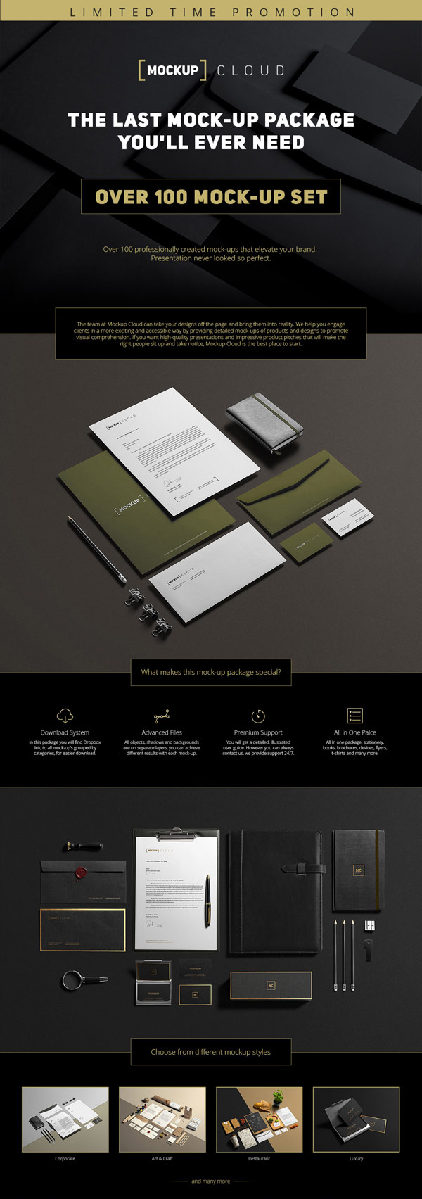 With over 100 individual mock-up sets for branding projects, this is probably the last mockup you will ever need.