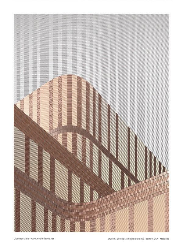 Bolling Municipal Building – graphic artwork created by Giuseppe Gallo as a tribute to the architectural design by Mecanoo.