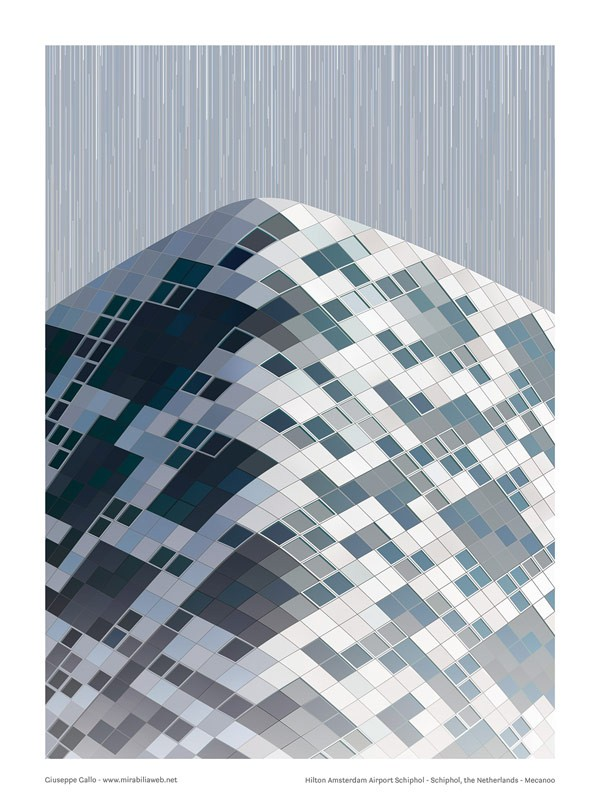 Hilton Amsterdam – this poster visualizes the use of pattern in architecture.