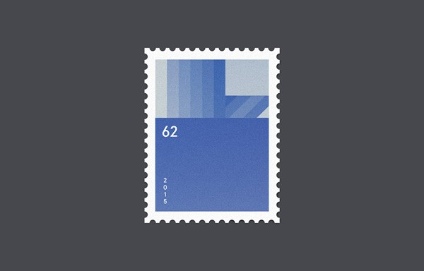 The stamp design is based on simple graphics.