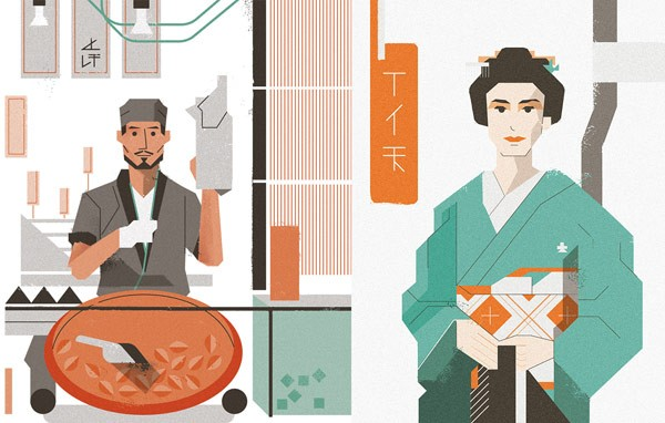 This series of editorial illustrations is inspired by Japanese culture.