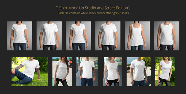 T-shirt mock-up studio and street edition. Each file contains white, black, and heather grey t-shirts.