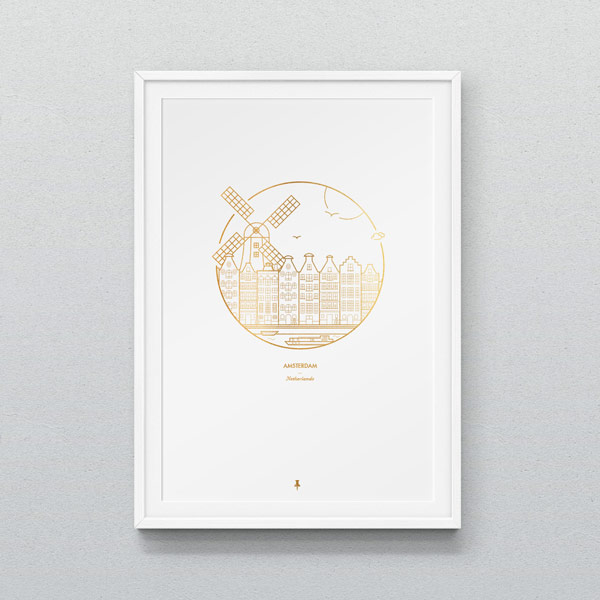 Amsterdam – work from a series of city prints by Dean Smith.