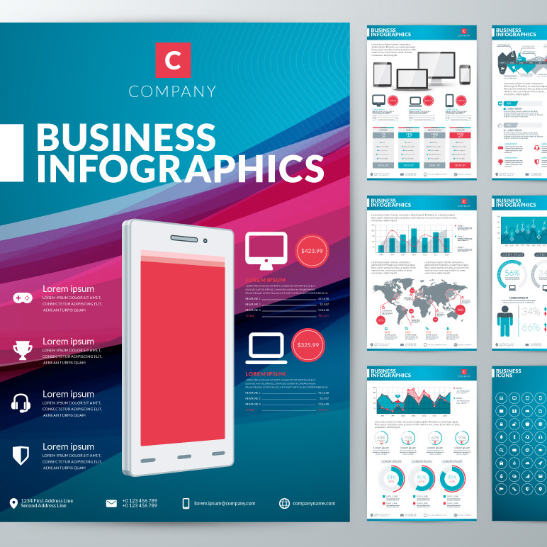 Business Infographics with Countless Vector Elements