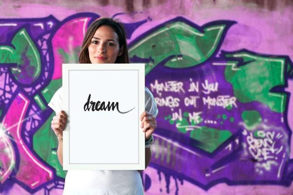 Dream – simple handmade typographic poster poster design.