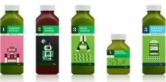 Illustration and design by Martin Azambuja for numerous Kaffe 1668 juice labels.