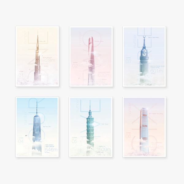 Incredible Heights, a series of posters featuring some of the world's highest skyscrapers.