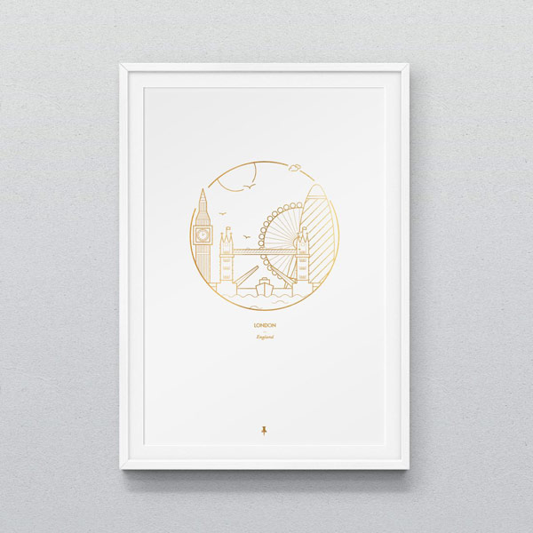 London poster illustration in the style of a monogram.