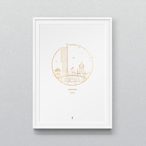 Manchester city illustration - A3 print.