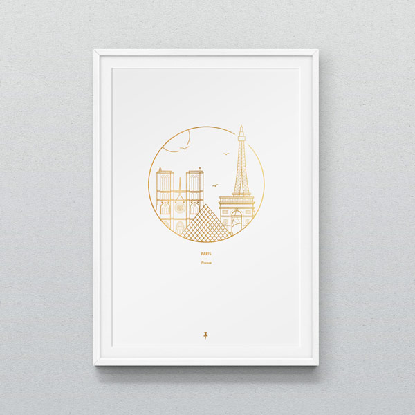 The Paris graphic printed on A3 paper.