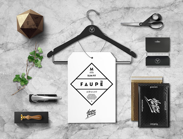 FAUPÈ – fashion label brand identity by Polish graphic designer Dawid Cmok.
