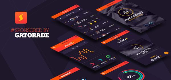 Mobile user interface and app design by BBDO Milan for Gatorade.