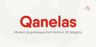 Qanelas is a modern sans serif typeface from Radomir Tinkov with a geometric look.