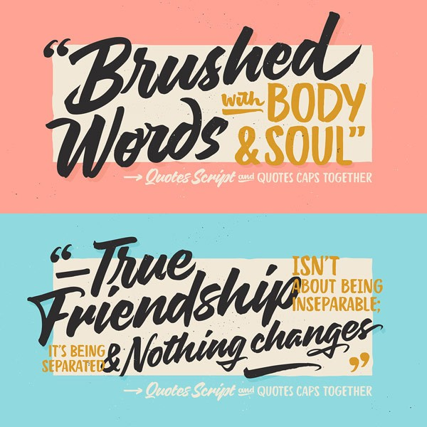 Quotes, a hand painted brush typeface with script and caps from Sudtipos.