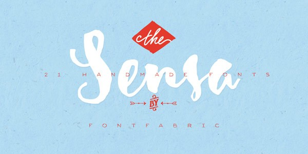 Sensa, a handmade font family consisting of 21 styles.