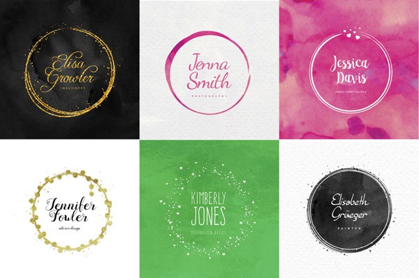 Some examples of cirle logos created with this bundle of graphic templates.