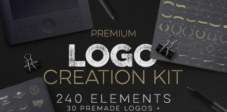 The logo creation kit includes 240 graphic vector elements plus premade logos, textures, icons, and typography logos.