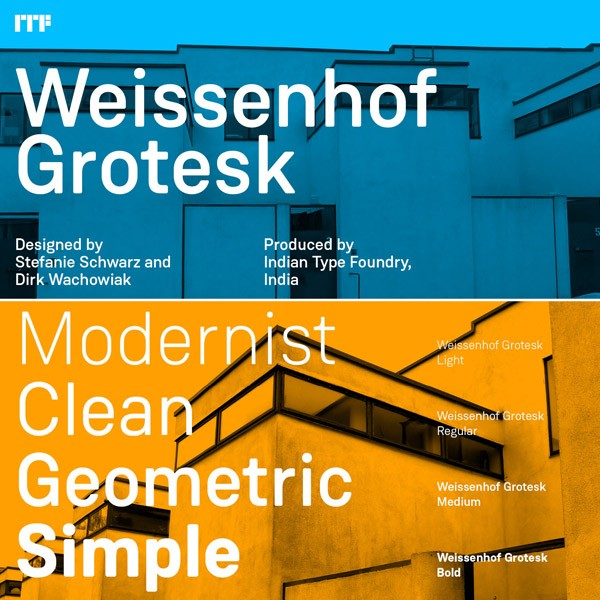 Weissenhof Grotesk, a constructed geometric sans serif from Indian Type Foundry.