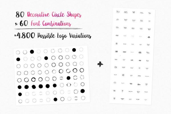 80 decorative circle shapes and 60 font combinations.