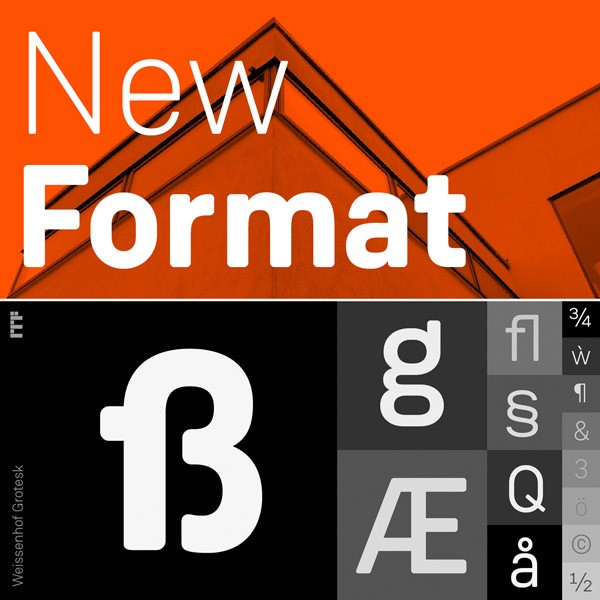 The Weissenhof Grotesk font family comes with lots of characters and typographic features.