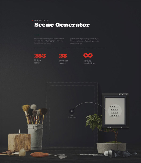 This diy mockup scene generator includes 253 unique items, 28 premade scenes, and infinite possibilities.