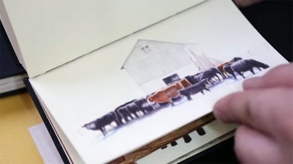 Wherever he is, Nicolas Sanchez is drawing little sketches in his notebook.