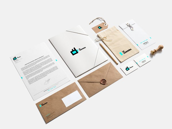 The well designed stationery set of La Harinera.